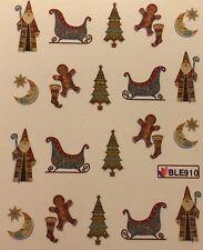 Nail Art Water Decals Christmas Tree Santa Gibngerbread Man Sleigh Moon BLE910