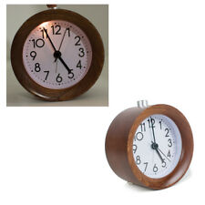 Classic Small Round Silent Light Wooden Design Alarm Clock Night Light Household