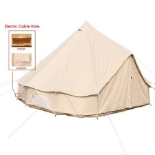 3M Canvas Bell Tent Water-poof Beige Yurt Tent 4-Season w/ Electric Entry Point