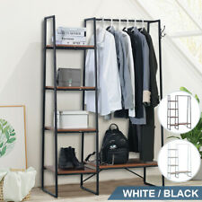 Garment Clothes Rack Storage Closet Hanger Shelf Metal Stand Shoe Organizer