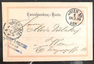 1899 Vienna Austria Postal Stationary Vintage Postcard Cover Domestic Used