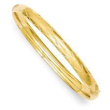 14k Solid Yellow Gold 4/16 Diamond-cut Fancy Hinged Bangle Bracelet