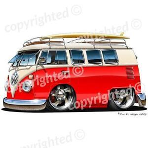VW Camper Van - Vinyl Wall Art Sticker - Red/White