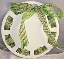 "12"" Decorative White Dish Green Red Bow Christmas Festive Holiday ""05"""