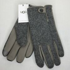 New Mens UGG Grey Large/XL Wool Blend Gloves with Leather Palms, Touch Screen