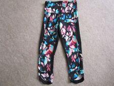 Champion Women's XS black pink blue multi print mesh insert capris leggings NWOT
