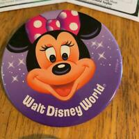 Disney Pin Button Walt Disney World Minnie Mouse Hair Bow Polka dot Purple
