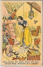 DISNEY - FRANCE -  VINTAGE  POSTCARD :  Snow White and forrest animals