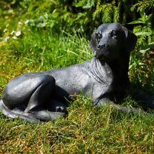 Cast Iron Black Lying Labrador Statue - Home Garden Ornament Dog Feature Decor