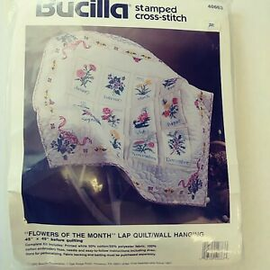 VINTAGE Bucilla Flowers of the Month Lap Quilt/Wall Hanging Pesonalize Kit40663