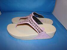 Women's FITFLOP 671-345 Carmel Toe-Post Flip Flop Sandals Size-8 Purple
