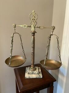Tarnished Antique Brass and Marble Balance of Justice Scales Lawyer Decor