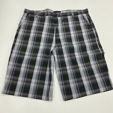 NBN Gear Shorts Mens 46 Gray Blue Flat Front Cotton Blend Plaid Slash Pockets