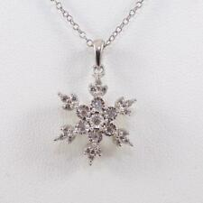 791b7aec43 Sterling Silver 0.12ctw Diamond Cross Snowflake Winter Pendant Necklace 18