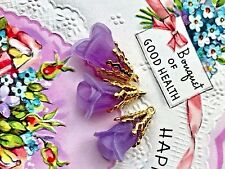 Vintage Tulip Beads Drops,Filigree Drops,Lucite Flower Charms,Tulip charm #1444D