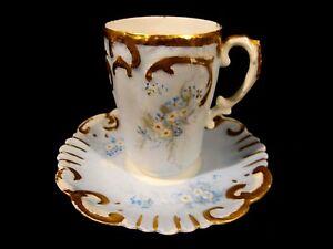 Antique Alfred Lantenier Limoges Porcelain Demitasse Cabinet Cup Saucer France