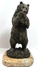 Vintage Bronze Bear Eating Berries Sculpture by MILO Onyx/Marble Base Excellent