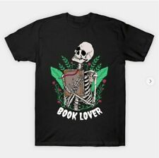 Book Lover T-Shirt, short sleeve -a skeleton holding a book