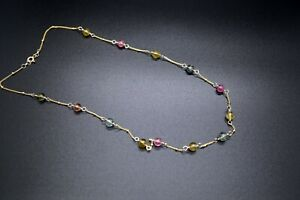 Goldfilled Multicolore Tourmaline Necklace Candy Fine Tourmaline Necklace Woman