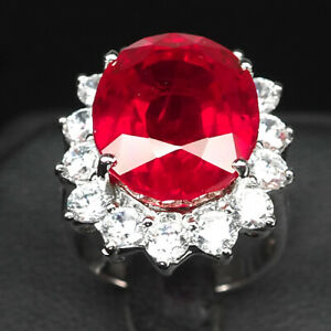 RUBY BLOOD RED OVAL 19.10 CT. SAPP 925 STERLING SILVER RING SZ 6 JEWELRY GIFT