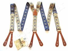 New Ralph Lauren RRL Indigo Blue & Cream Elastic & Leather Suspenders Braces
