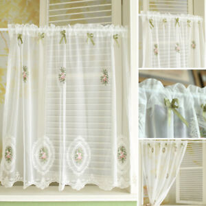 Short White Lace Flower Sheer Curtain Valance Bedroom Living Room Window Drapes