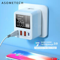 Smart 4 Ports USB Type C QC3.0 Quick Charge LED Display USB Charger Station New