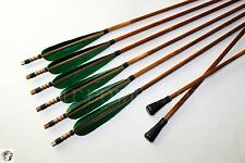 6pcs Bamboo Arrows 8mm Safety Arrowheads Training Game Archery Recurve Longbow