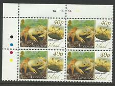 ASCENSION 2008 ANIMALS EGGS LAND CRAB TOP LEFT CORNER BLOCK OF FOUR MNH
