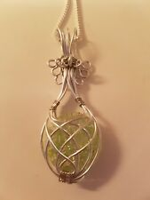 """Pendant Necklace handmade wire wrapped green crackle bead 24"""" silver plate chain"""