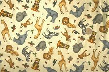 African & Jungle Animals on Buttermilk Multi Fabric fq 50x56cm VIP 100% cotton