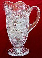 """Vintage Hofbauer Byrdes Collection Lead Crystal Pitcher Jug 9"""" Germany"""