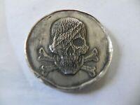 2 oz.999 Fine Silver Round - One Eyed Skull & Crossbones - MK Bar- Hand Poured