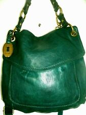 Fossil Lovely Teal Green  Leather Crossbody with Lots of Storage! Nice! EUC!