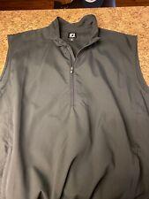 Footjoy Golf Vest L Black Zip Pullover Windbreaker 1/4 Large