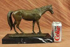 Large Barye Racing Horse Model Bronze Sculpture Art Marble Base Figurine Figure