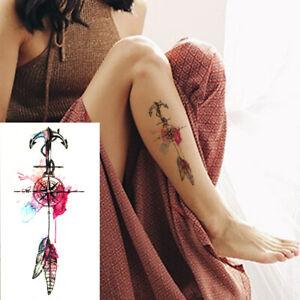 Kompass Einmal Tattoos Temporäre Tattoo Body Sticker Seemann Anker Feder 21x11cm