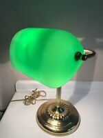 Vintage Bankers Lamp w/ Green Glass Shade 13.75""