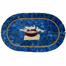 "15""x30"" Semi Precious Stones Inlay Work Marble Dining Table Top"