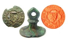14th century medieval bronze armorial seal matrice