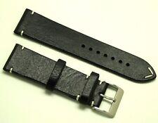 24mm Vintage Black/White Genuine Leather Watch Strap Handmade Silver Buckle