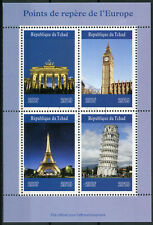 Chad 2019 CTO Landmarks Eiffel Tower Big Ben Brandenburg Gate 4v M/S Stamps