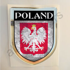 Poland Sticker Coat of Arms Resin Domed Stickers Grunge Flag 3D Adhesive Car