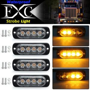 4x Amber 4-LED Flashing Recovery Strobe Car Emergency Light Grill Breakdown 12V