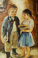 Antique Oil Painting Portrait Art Children Motif Picture Rare