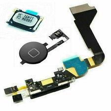 For iPhone 4 4g Charging Port Flex Cable Ear Speaker Home Menu Button Black