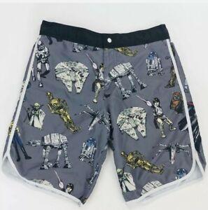 Board Shorts. Mens.RETRO Star Wars Classic Characters Lined Swim Trunks SZ L