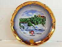 VTG Int. Travel Rheinfall & Schloss Laufen SWITZERLAND Porcelain Souvenir Dish