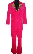 Womens Vtg Formal Tailored Baroque Pink Velvet Jacket Trousers Blazer Suit V3