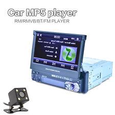 Car In-dash Radio Bluetooth Music Player FM USB 7'' Touch Screen 1DIN w/ Camera